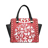 Christmas Reindeer Mistletoe and Holly Women's Rivet PU leather Shoulder Bag Handbag