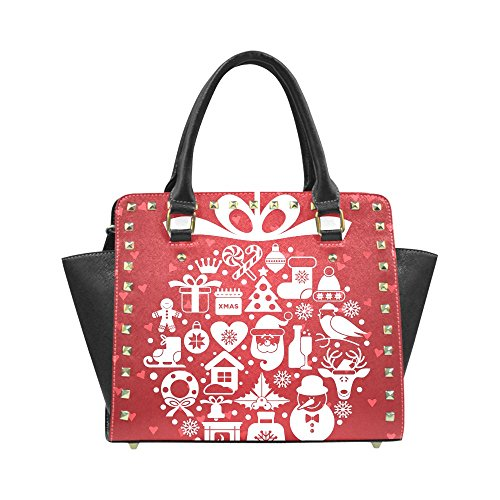 Christmas Reindeer Mistletoe and Holly Women's Rivet PU leather Shoulder Bag Handbag