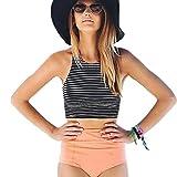 Automotive : Clearance Sale! Women's Swimwear WEUIE Womens High Waist 2 Piece Stripe Bikini Spa Swimsuit Bathing Suit (XL, Black)
