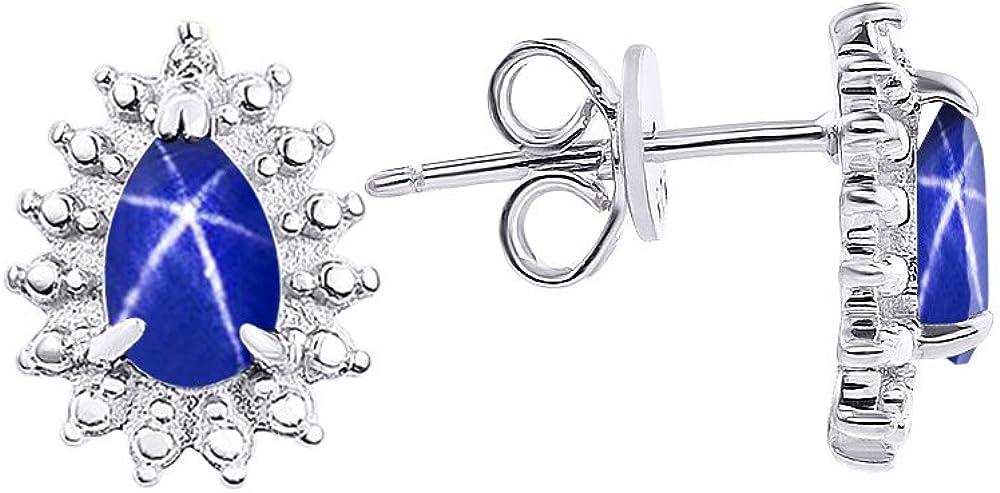 Diamond & Blue Star Sapphire Earrings In Sterling Silver .925
