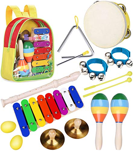 Toddler Musical Instruments Toys - Smarkids Percussion Instruments Toy Preschool Educational Musical Toys Set for Boys and Girls Including Xylophone Flute Tambourine Maracas with Backpack ()