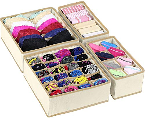 - Simplized Closet Underwear Organizer, 4 Pack, Beige   Collapsible Foldable Cloth Storage Box, Dresser Drawer Organizer Divider Set Cube Basket Bins Containers for Lingerie, Clothes, Bras, Socks, Ties,