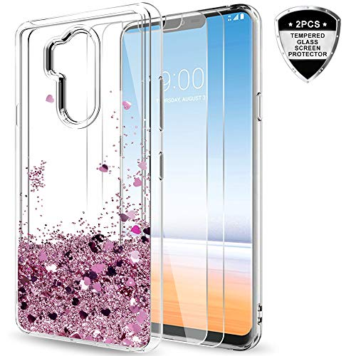 LG G7 Case,LG G7 ThinQ Case for Girls Women, LeYi Glitter Shiny Bling Cute Moving Liquid Quicksand Clear TPU Protective Case for LG G7 ThinQ ZX Rose Gold
