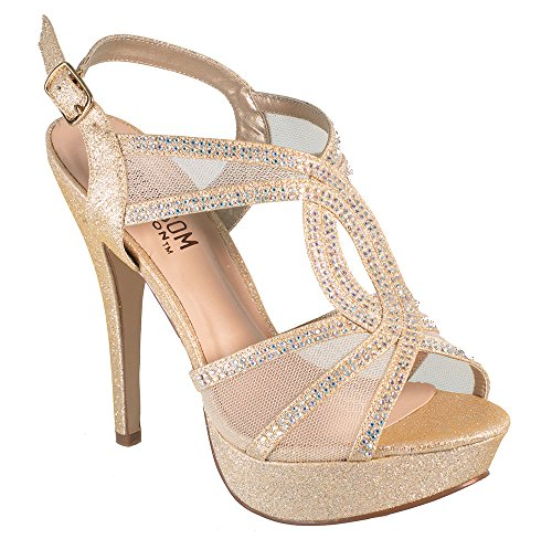 Vice-254 Women's High Heel Rhinestone Strappy Formal Occasion Wedding Prom Dress Sandal Shoes Nude 8.5