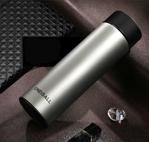 Gray Insulated Stainless Steel Flask Travel Mug Beverage Bottle 15Oz by Travel Mugs
