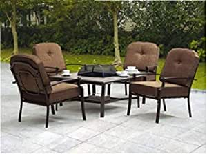 5piece patio conversation set with fire pit includes 1 table and 4 outdoor patio furniture fire pit r36 patio
