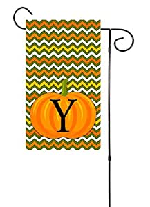 "Fall or Halloween Chevron Pumpkin Initial Monogram Garden Flag 12""x18"" Letter: Y"
