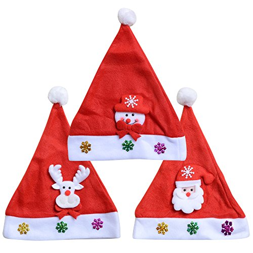 3 pcs Child Christmas Traditional Hats Santa Claus Snowman Reindeer Hat For Kids