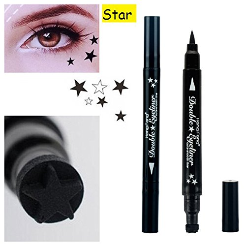 MIOBLET 1PC Super Double-headed Black Liquid Eyeliner Pencil Pen Waterproof Star Heart Moon Flower Shape Seal Stamp Tattoo Eyes Liner Makeup