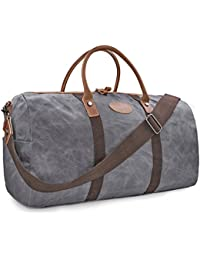 dd99217a7b6a Travel Duffel Bag Waterproof Canvas Overnight Bag Leather Weekend Oversized  Carryon Handbag Grey