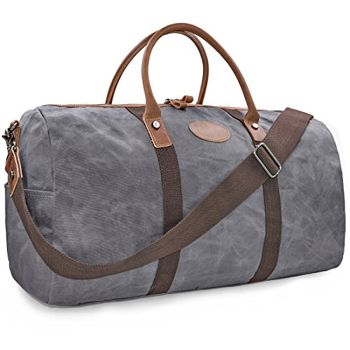 Travel Duffel Bag Waterproof Canvas Overnight Bag Leather Weekend Oversized Carryon Handbag Grey