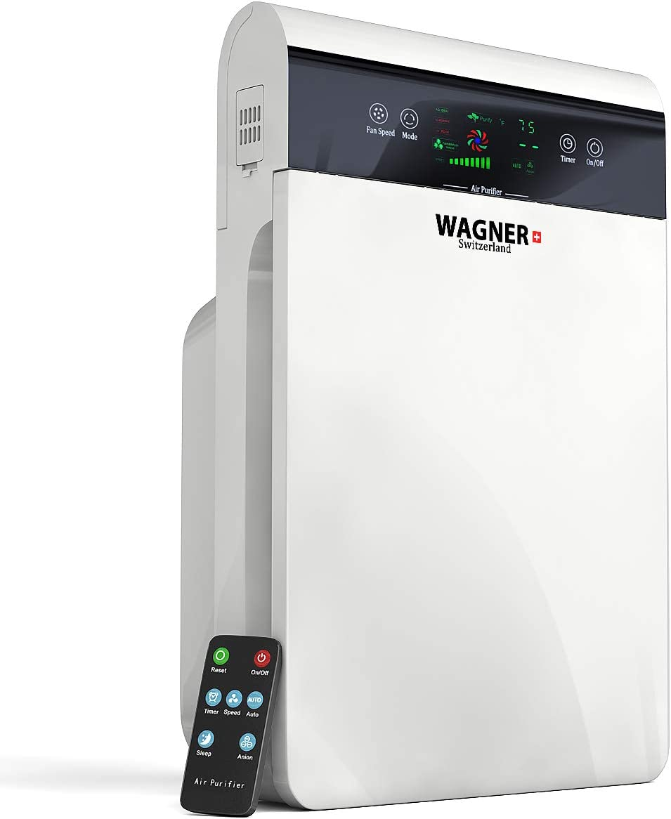 WAGNER Switzerland Premium Air Purifier H883, Swiss i-Sense Technology, for Rooms up to 350 sq.ft Removes 99.7 of Mold, Odors, Dust, Smoke, Allergens Germs, True HEPA Filter 5-Stage Purification.