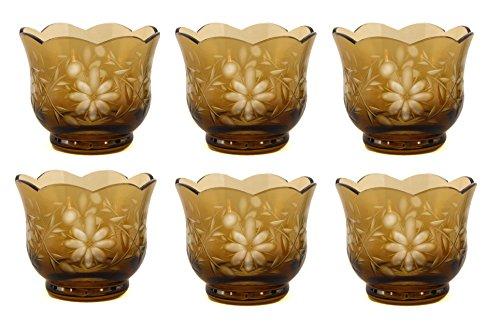 Home Decoration Accessories Amber Color Glass Votive Holder Etched Flower Set of -