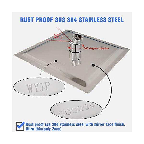WYJP - Soffione doccia a pioggia, con ugelli anticalcare lucidi, effetto specchio, in acciaio inox 304 3 spesavip