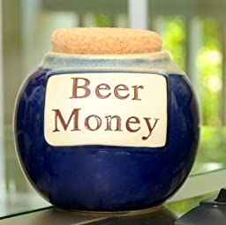 Tumbleweed \'Beer Money\' Funny Money Bank; Ceramic Jar With Cork Lid, Coin Bank