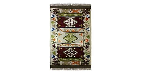 4 X 6 4 x 6 NOVICA 218925 Desert Snowflakes Wool Area Rug