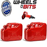 Wheels N Bits 2 x NEW 10 LITRE RED JERRY MILITARY CAN FUEL OIL WATER PETROL DIESEL STORAGE TANK WITH SPOUT