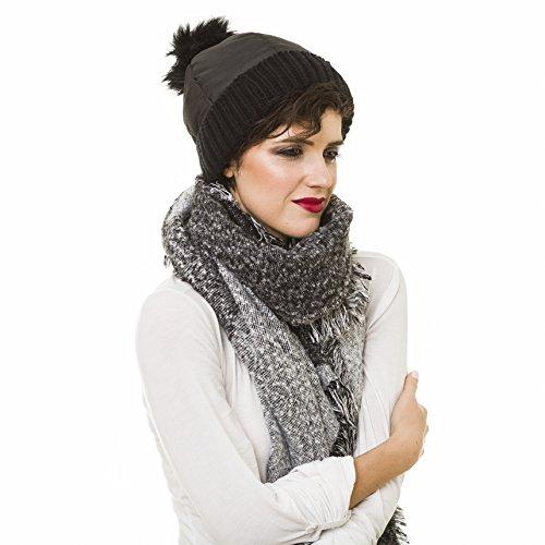 MELIFLUOS DESIGNED IN SPAIN Beanie for Women with Pom Pom Black Skull  Skully Cap Hat Toboggan 327d988f638