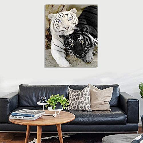 Nrpfell Diamond Painting Cross Stitch Black nd White Tiger Needlework Embroidery Hobbies Craft Home Decor 30X40cm