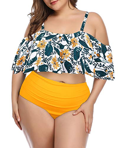Wavely Woman Plus Size Swimwear Two Piece Ruffle Off Shoulder Printed Bikini Top with High Waisted Swimsuit Bottom