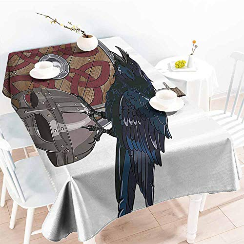 - Homrkey Fabric Dust-Proof Table Cover Viking Raven on Steel Helmet Nordic Sword Shield Scandinavian Army Medieval Armour Dark Blue Grey and Caramel Party W40 xL60