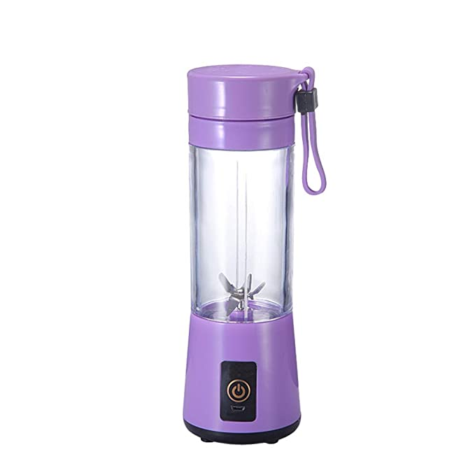LIRONG Portable Glass Juicer Personal Small Electric Juice Blender Can Charge 400Ml Capacity Through USB Port,Purple