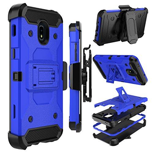 Galaxy J7 2018 Case, Galaxy J7 Refine Case, Zenic Heavy Duty Shockproof Hybrid Full-body Protection Case with Swivel Belt Clip and Kickstand for Galaxy J7 Aero / J7 Aura / J7 Star / J7 Eon (Blue)
