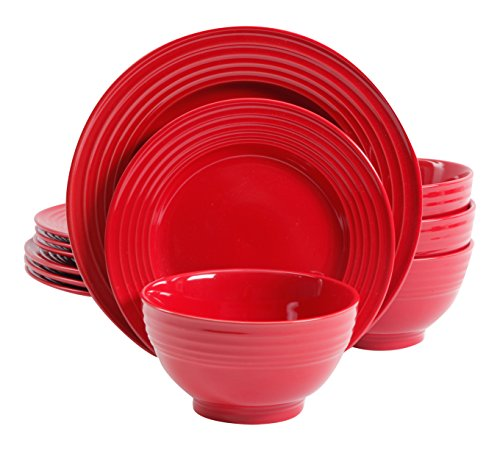 Gibson Home 12 Piece Plaza Cafe Dinnerware Set, Red