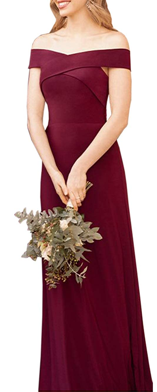 Wine Red ONLYCE A Line Off Shoulder Weddding Party Dress Open Back Long Bridesmaid Dress