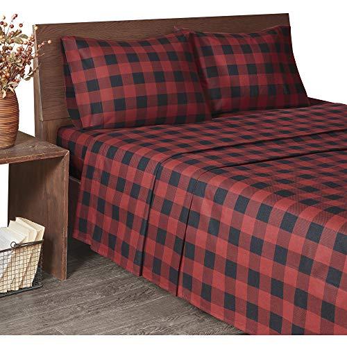 Woolrich Flannel Cotton Sheet Set Red/Black Buffalo Check Queen