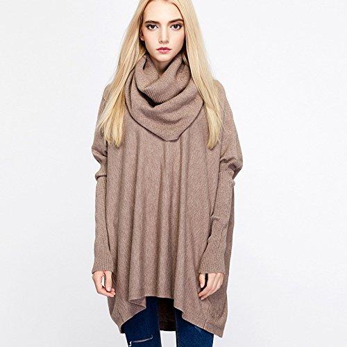 XIU Sweater Suéter RONG Gules Cuello Hembra F Khaki Hembra Tortuga Tejida Invierno SwOCSr