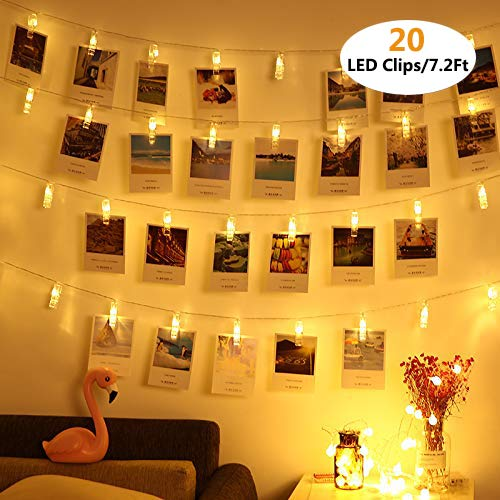 Vennke 20 LED Photo Clips String Lights/Holder, Battery & USB Powered Design with Free Cable, Fairy Twinkle Wedding Party Christmas Home Decor Lights for Hanging Photos Pictures Cards Artwork