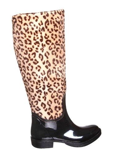 shoewhatever Patent Base Nylon Leopard Paint Body Rain Boots
