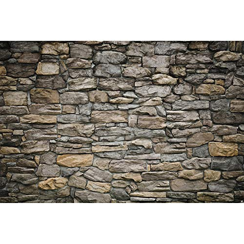 - Great Art Photo Wallpaper Grey Stonewall Decoration 132.3x93.7in / 336x238cm - Wallpaper 8 Pieces Includes Paste.