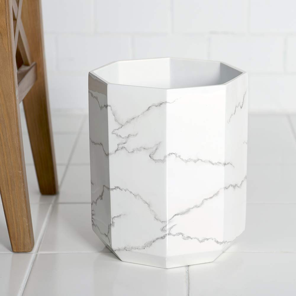 Allure Home Creation Marble Effect Trash Can - Small Wastebasket, Garbage Bin for Bathroom,Bedroom and Office by  Allure Home Creation