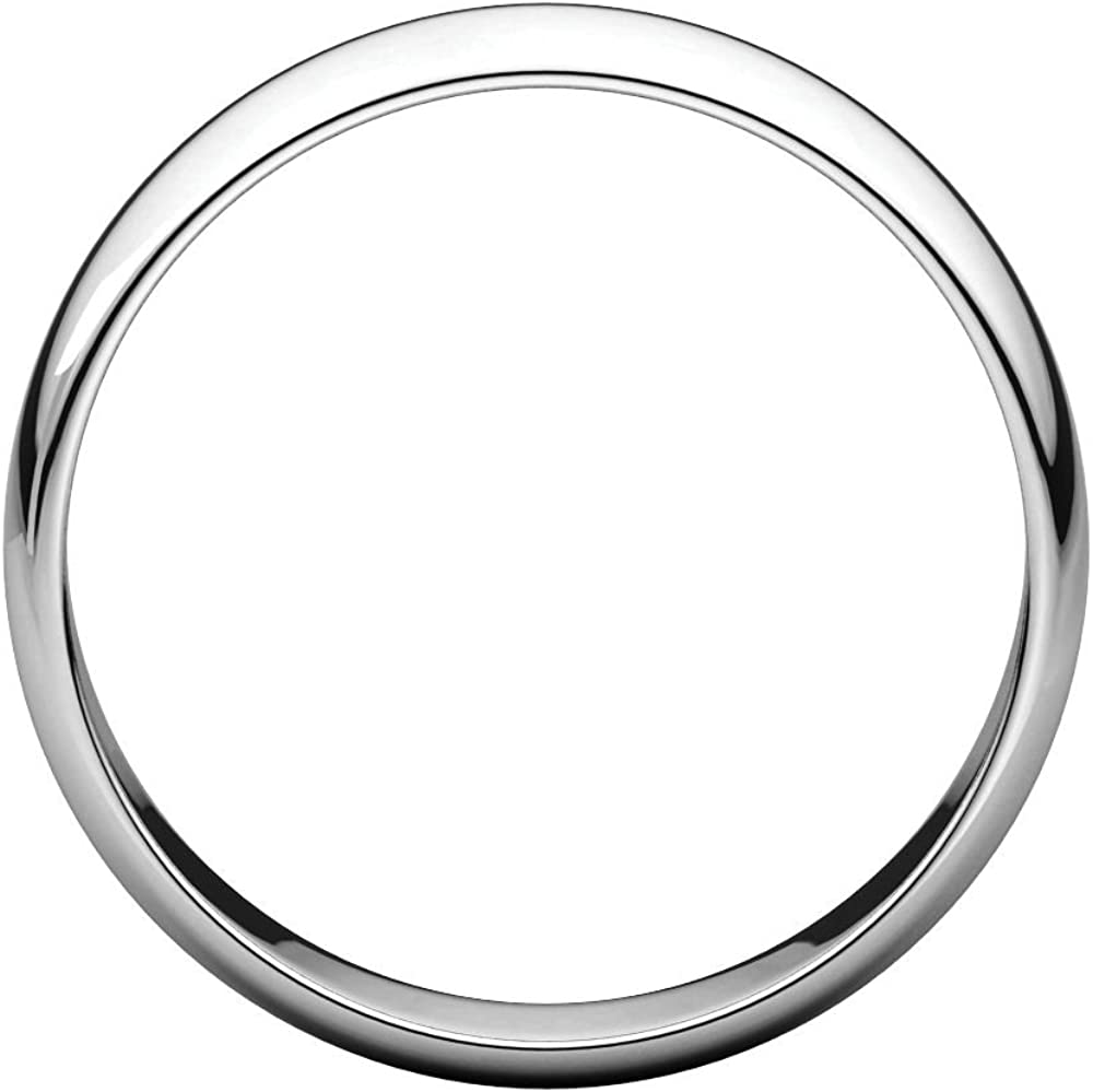 Security Jewelers 10k White Gold 5mm Half Round Light Band Ring Size 13 10kt White Gold