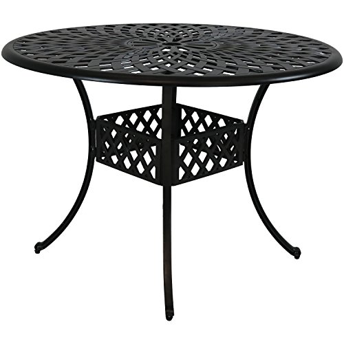 Sunnydaze Round Patio Dining Table, Outdoor Durable Cast Aluminum Construction with Crossweave Design, 41-Inch Diameter