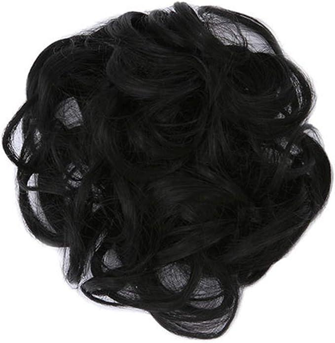 Damen Haarband Haargummis Lockig Elastisch Extensions Donut Schwarz