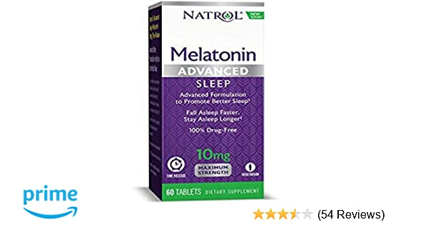 Amazon.com: Natrol Advanced Sleep Melatonin Tablets, Maximum Strength 10 mg 60 ea (Pack of 3): Health & Personal Care