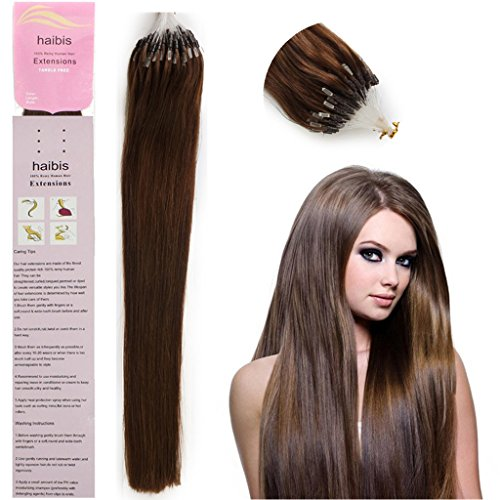haibis 16''-22'' Straight Micro Loop Remy Human Hair Extensions with Double Silicone Ring Beads Tipped 1g/s 100s(20'',#04 Medium Brown)
