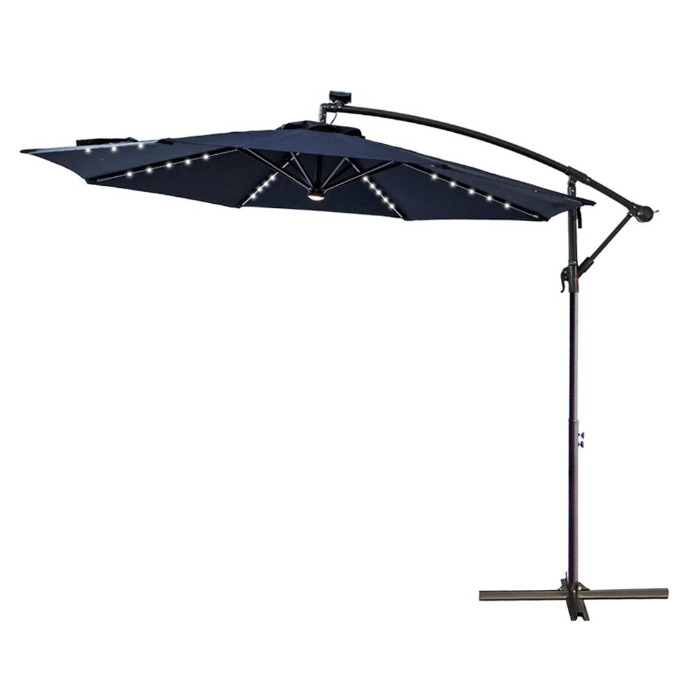 C-Hopetree 10 LED Lighted Outdoor Offset Hanging Cantilever Umbrella with Solar Lights for Large Patio Terrace Deck or Balcony, Navy Blue