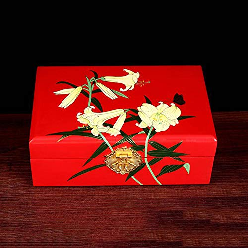HAIHF Jewellery Box,Chinese Furniture & Gifts, Hand Crafted Wooden Decorative Trinket Jewelry Box Black Lacquer Jewellery Armoire/Jewellery Box with Flower Design, Oriental Furniture (Lacquer Black Armoire)