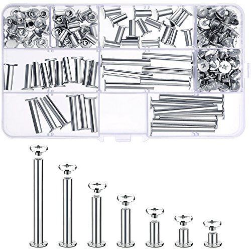 Pangda 80 Set Chicago Binding Screws Assorted Kit 7 Different Sizes Metal Round Cross Head Stud Screw Posts Nail Rivet Chicago Button for DIY Leather Decoration Bookbinding