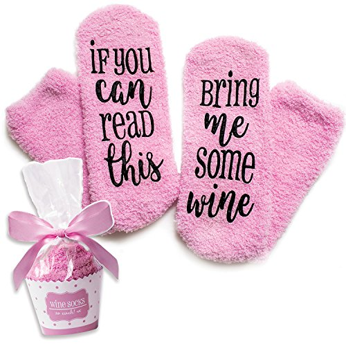 Luxury Wine Socks with Cupcake Gift Packaging: Gift Idea for her with If You can Read This Bring me Some Wine Phrase - Funny Wine Accessory for Women - Birthday, Housewarming Present (Luxury Wine Gift Baskets)