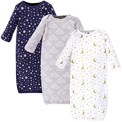 Hudson Baby Baby Cotton Gowns, Navy Stars and Moon 3 Pack, 0-6 Months
