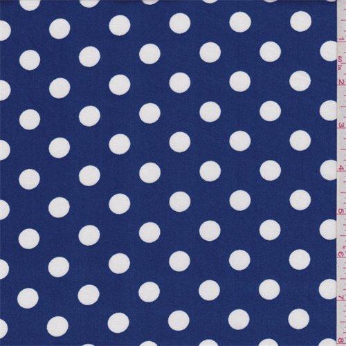 Blue Polka Dot Fabric - Royal Blue Polka Dot Broadcloth, Fabric By the Yard