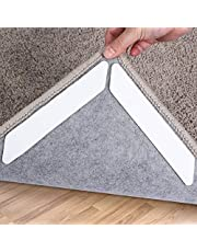 Rug Grippers, 16 pcs Double Sided Washable Removable Anti Curling Corner Carpet Gripper , Non Slip Adhesive Rug Tape for Hardwood Floors and Tile (Pearl White)
