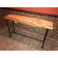 Industrial Pipe and Wood Sofa Table Live Edge Rustic Vintage (Natural)