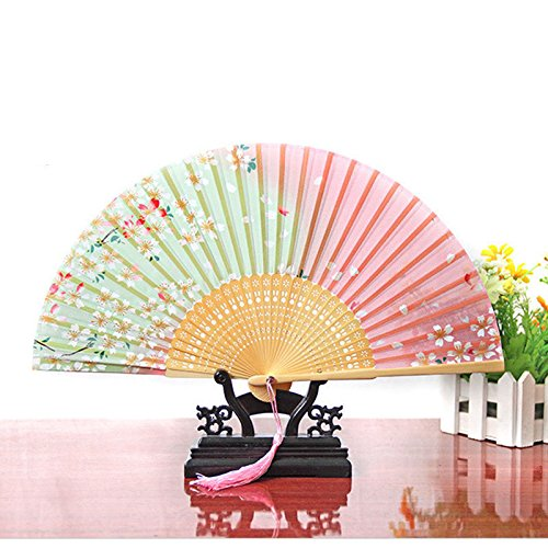 Labu Store New Japan Dance Fan Pink and Green Cherry Blossom Pattern Lace Bamboo Handheld Folding Fans Hot Event Party Supplies