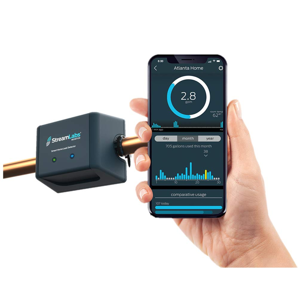StreamLabs Smart Home Water Monitor Leak Detector with Wi-Fi - No Pipe Cutting, 5-Minute Install, Real-Time Phone Alerts - Fits 3/4'' or 1'' Pipes. Compatible with Nest and Alexa. by Streamlabs